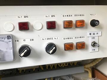 ポンプ制御盤の警報